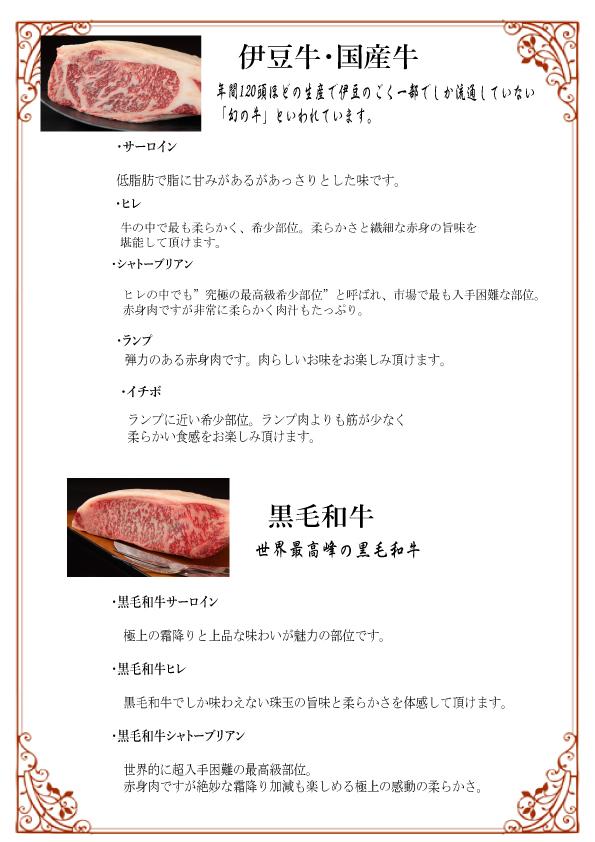 アラカルト1 お肉の説明